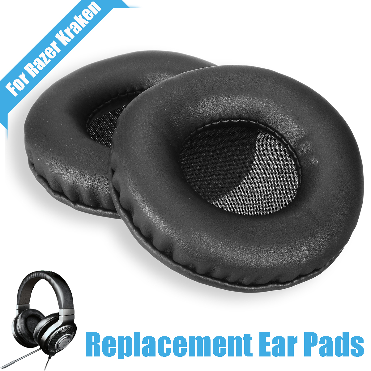1Pair?Replacement Ear Pads for Razer?Kraken Headphones Protein Leather Soft Ear Cushions ...