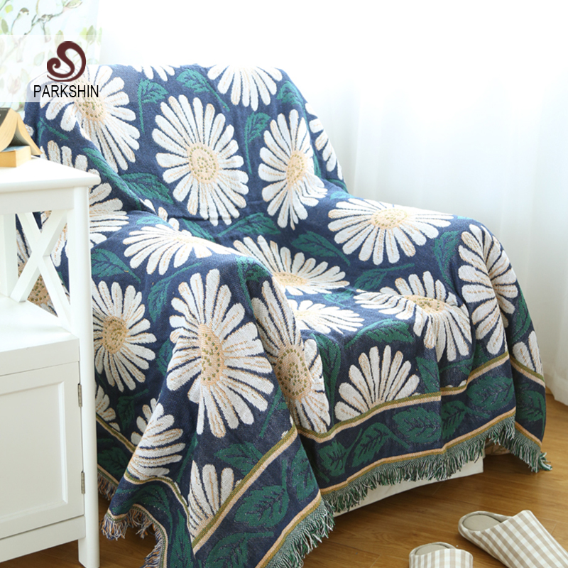 Parkshin High Quality Blanket 100% Cotton Flower Knitted Bedspread For Sofa/Bed/Home 130cmX180cm Blanket