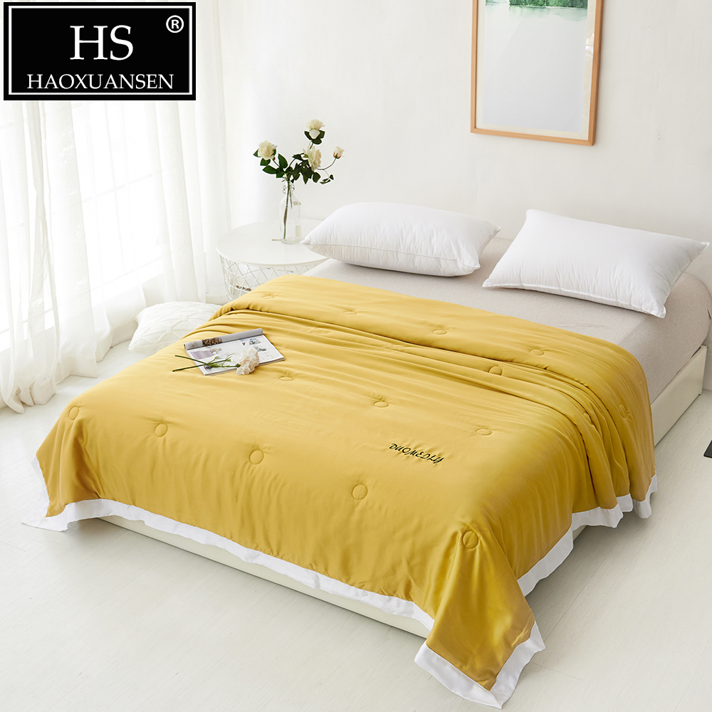 Luxury Yellow Thin Quilt 100% Lyocell Tencel 400 Thread Count Fabric Comforter Summer Thin Bed Cover Adult Blanket Queen King|Quilts| |  - title=
