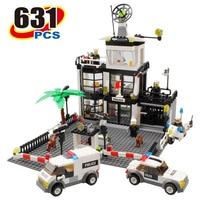 Kazi 631Pcs City Police Station Building Blocks Action Figure Baby Toys For Children Bricks Brinquedos