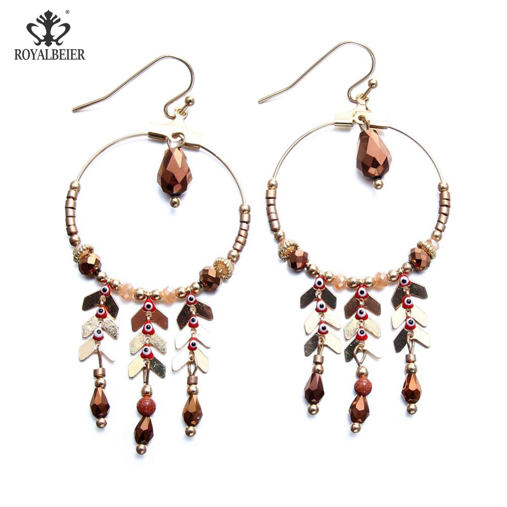 RoyalBeier Bohemian Earrings With Stones Trendy Style Tassel Brincos Female Holiday Round Jewelery Crystal Party Drop Earrings