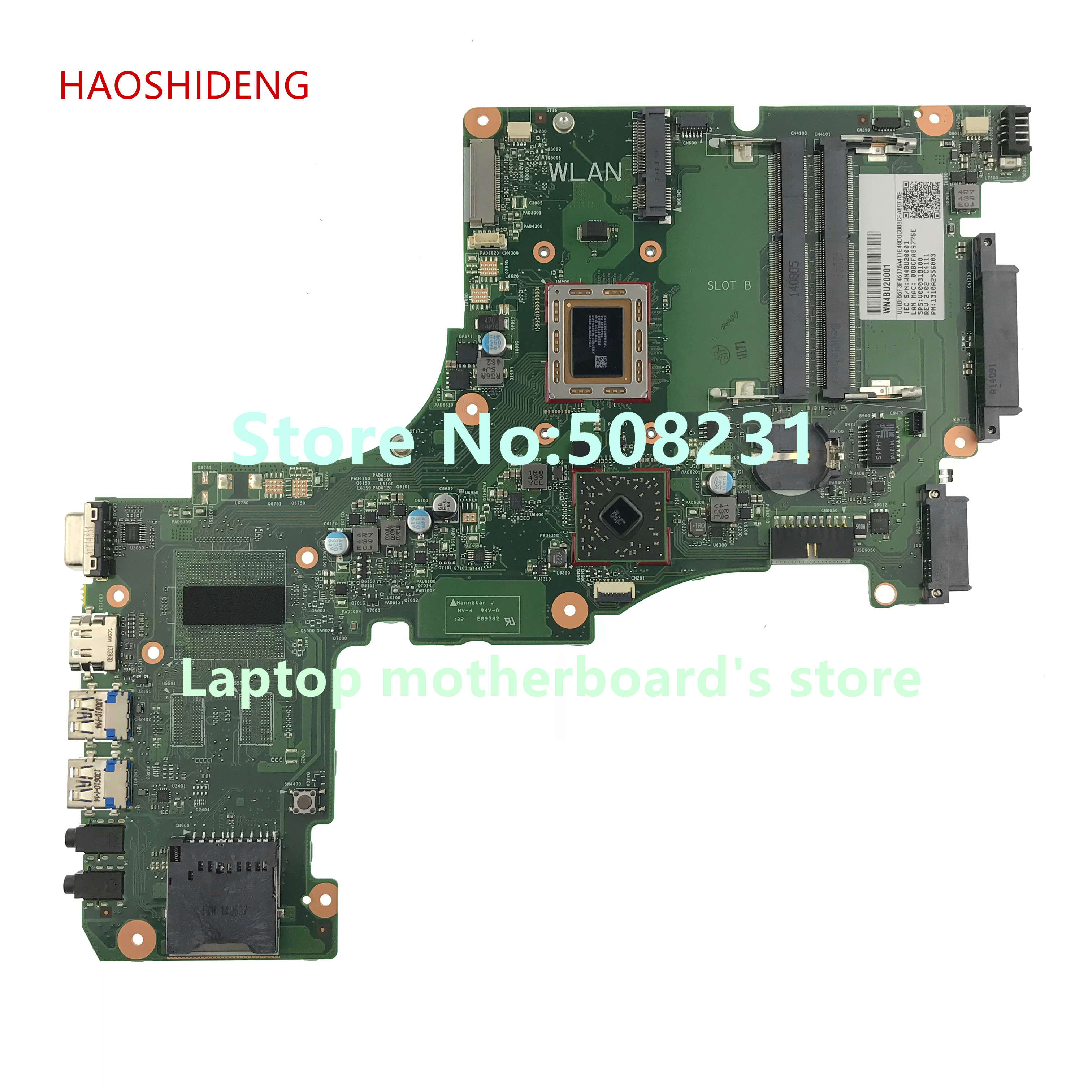 HAOSHIDENG V000318100 Mainboard for Toshiba Satellite L50DT L50DT-A Laptop Motherboard CR10ADTG-6050A2556001-MB-A02 6050a2488301 mb a02 sps v000268060 laptop motherboard for toshiba satellite nb510 ddr3 sr0w1 n2600 cpu onboard mainboard
