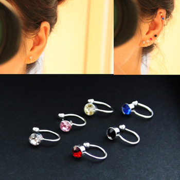 Clip Earrings 17 Colors Crystal Fake piercing Zinc Alloy Ear clips 4mm crystal 1