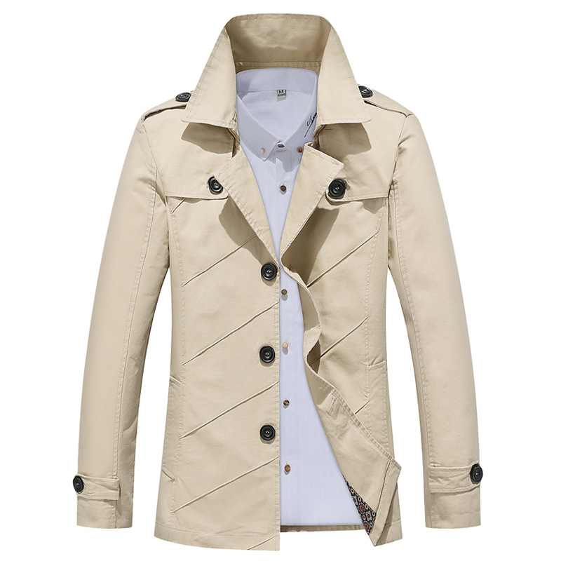 HO 2020 Men Leisure Jacket Autumn Youth Cotton Cultivate One's Morality Paragraph Dust Coat Grows In Water