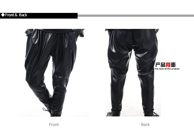 Best version, New Fashion Brand Hip Hop personality Performance sweatpants Male Trousers stage Faux Leather Harem pants 45