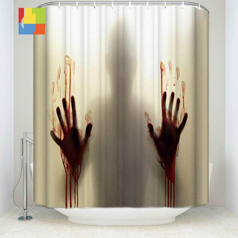 blood handprint silhouette polyester fabric bath shower curtain 36 w x 72 h halloween gift. Black Bedroom Furniture Sets. Home Design Ideas