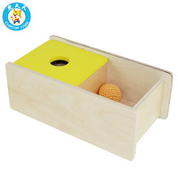 Montessori Baby Infant Toys Shape Matching Box Early Education Teaching Aids Wooden Toys Imbucare Box With Flip Lid Knit Ball