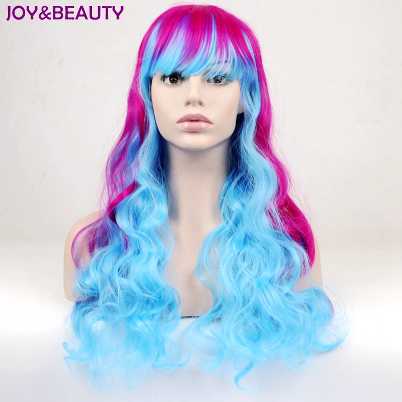JOY&BEAUTY Long Curly Girls Ombre Hair Cosplay Costume Party Synthetic Wigs Purple Red Blue Highlight Mixed Color 60cm Women wig