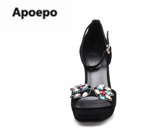 Mujeres Cristal nudo Del Color Plataforma De Peep Marca Zapatos Nueva Toe Mariposa Gladiador Sandalias Las Negro Cuñas SIxqv