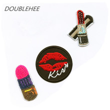 DOUBLEHEE Embroidered Iron On Patches Sequins Lipstick Pink Shoes Watermelon Design Embroidery DIY Garments For Fashion Cloth