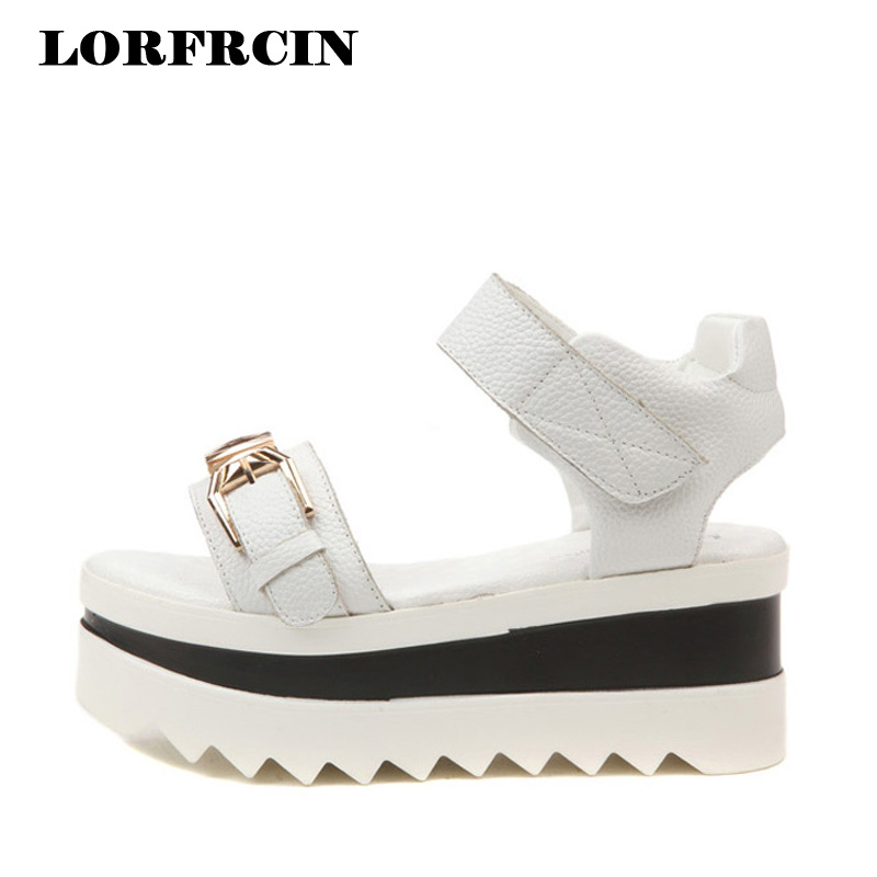 2017 New Women Summer Shoes Wedges High Heels Sandals Genuine Leather Platform Casual Sandals for Women Black White Shoes Woman