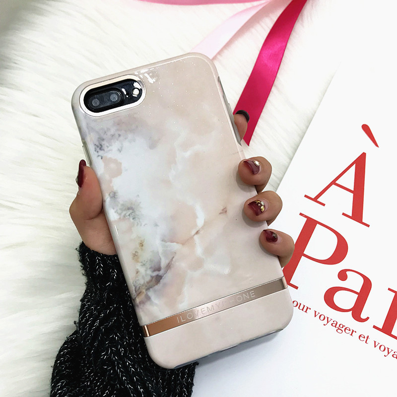 Glossy Marble Phone Case For iphone 7 Case Fashion Chic Back Cover Hard PC and Soft Clear Frame Case For iphone X 8 6 6s Plus 7p