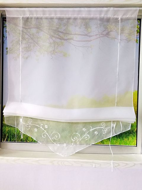 Embroidered Sheer Roman Short Curtain for Kitchen Living Room Bedroom Polyester Yarn Embroidery Ribbon Rod Roman Blinds 33/704