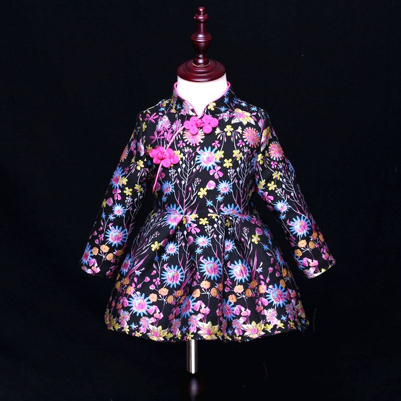 Winter thicken black floral jacquard Women 3XL baby kids girl 1Y-16Y Chinese style mother daughter dress family matching clothes autumn jacquard rose print women 3xl baby kids girls 1y 16y fashion dress matching mother and daughter dress family look clothes