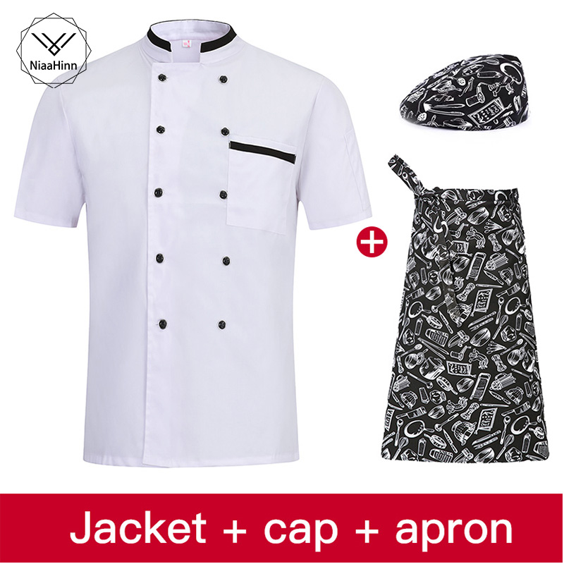 High Quality White Men Short-sleeve Double Breasted Kitchen Work Wear Chef Jacket Restaurant Bakery Cafe Work Uniform Cooker Hat