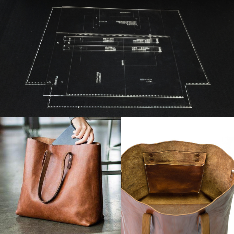 Handmamde Woman Handbag Acrylic Template Leather Pattern DIY Hobby Leathercraft Sewing Pattern Stencils 37x32x12cm