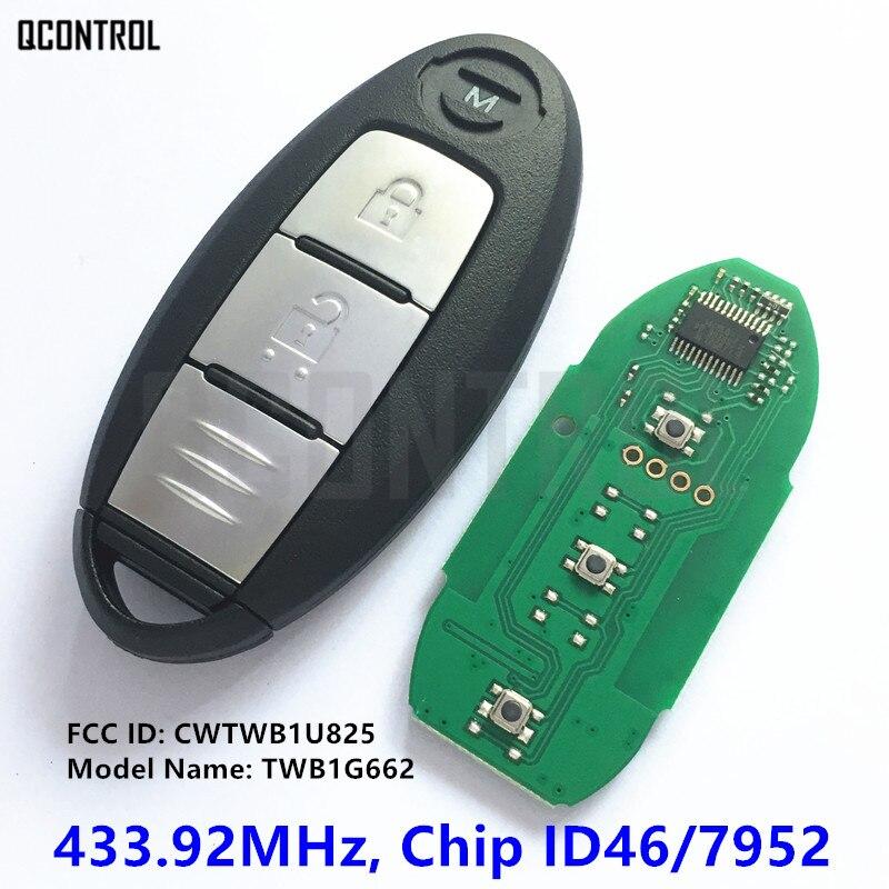 Qcontrol twb1g662 inteligente remoto chave do carro terno para nissan micra juke nota folha cubo tiida 433.92 mhz fcc id cwtwb1u825
