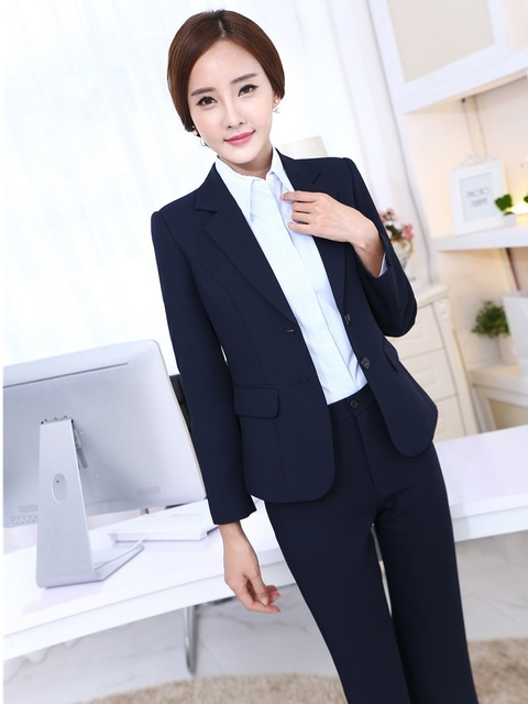 New Professional Formal Uniform Design Female Pantsuits With Jackets ...