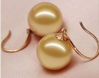 natural huge11 12mm AAA++south sea round gold pearl dangle earrings 14kgold