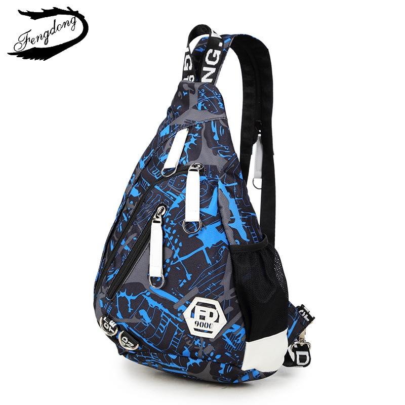 цена на Fengdong New Men Chest Bag Backpack Students School Bag Waterproof Casual Shoulder Bag Chest Bag Pack Backpack For Men
