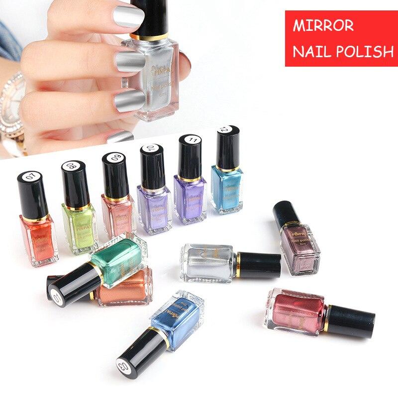 Metallic Nail Varnish Sets: 12 Colors 6ml Silver Metallic Mirror Nail Polish Nail