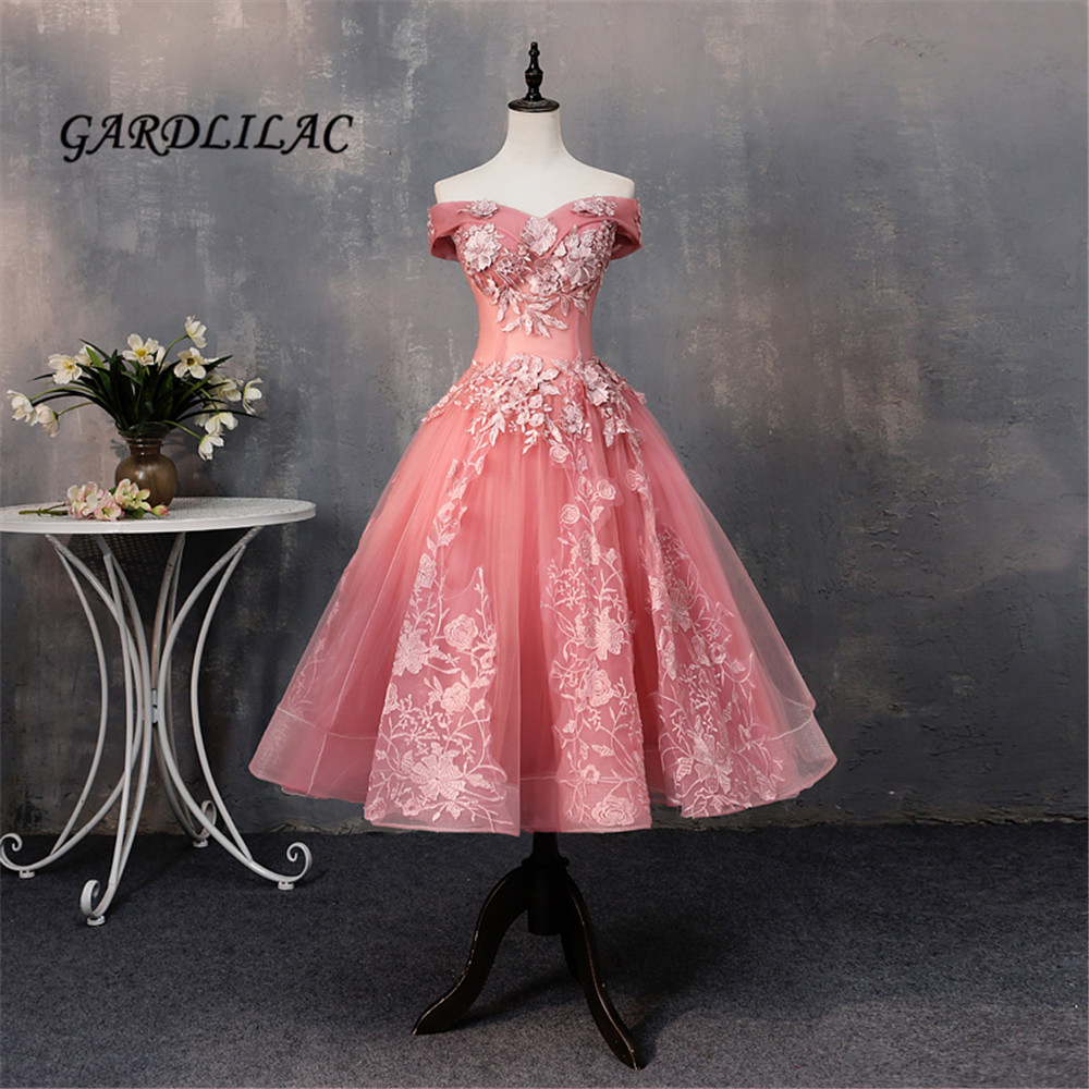 2018 New Cameo   Prom     Dress   Short Off The Shoulder Tulle Lace Appliques Homecoming   Dresses   Blush Bridal Bridesmaid   Dresses