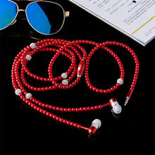 1X Fashion Pearl Necklace Headset Wire Control Sports Stereo In-ear Earphone Universal for Smart Phone High Quality Volume(China)