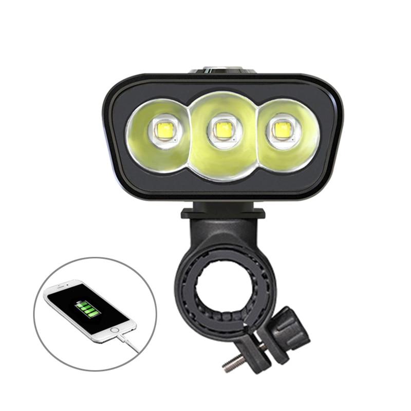 Spor ve Eğlence'ten Bisiklet Işığı'de Bisiklet ışığı 6000lm 2x XML L2 LED bisiklet ışıkları USB şarj edilebilir 6000mAh bicicleta tekerlek bisiklet ön işık arka lambası title=