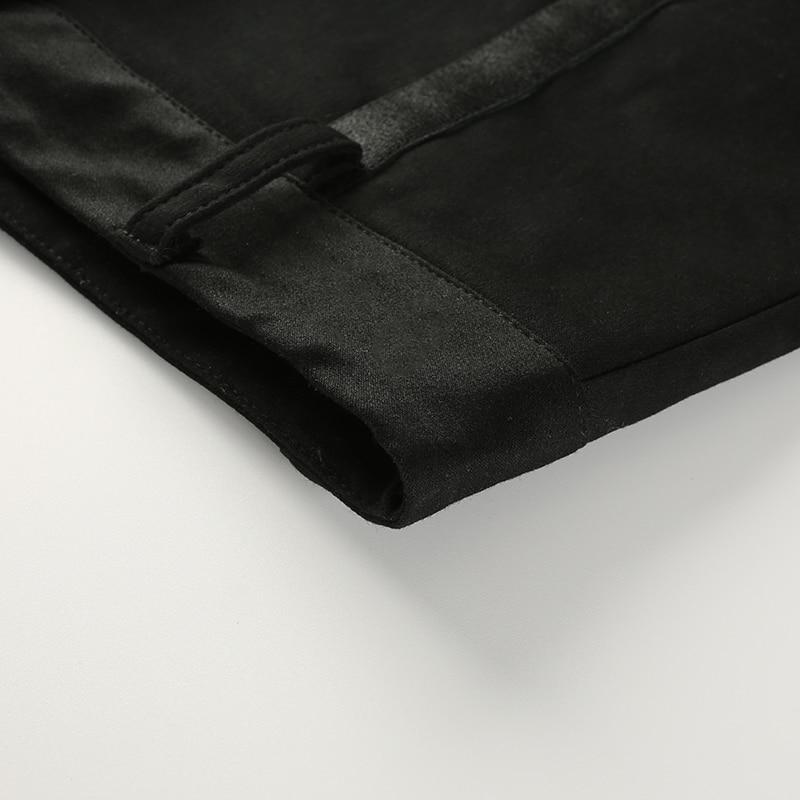 12 Sweetown黑色弹性高腰修身短裤Hotpants性感的街头风格丝带迷你短裤2018夏季时尚短裤Feminino