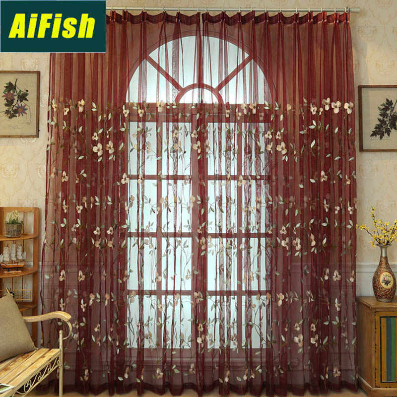 Rustic Embroidered Floral Burgundy Red Sheer Curtain Panels For