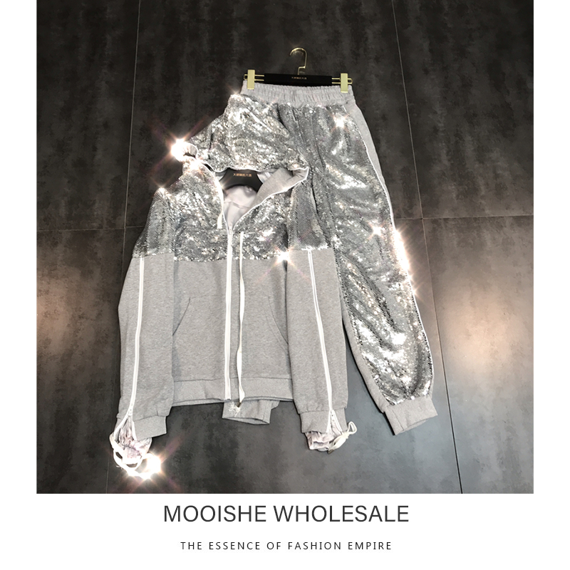 Silver Sequin Shiny Women Tracksuit Hooded Zipper Jacket Hoodie + Harenm Pants Spring New 2pc Set
