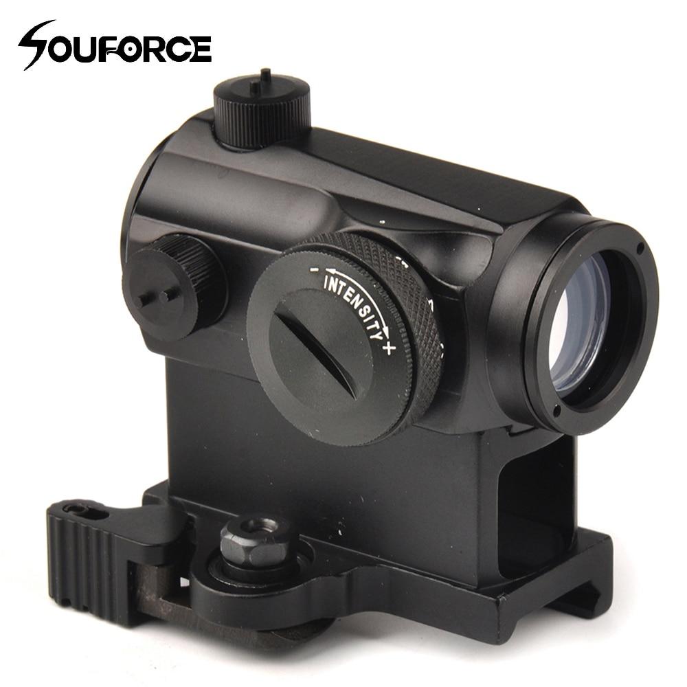 Тактический Мини 1X24 Rifescope прицел с подсветкой снайпер красный зеленый точка зрения с Quick Release Red Dot Сфера горе для охоты