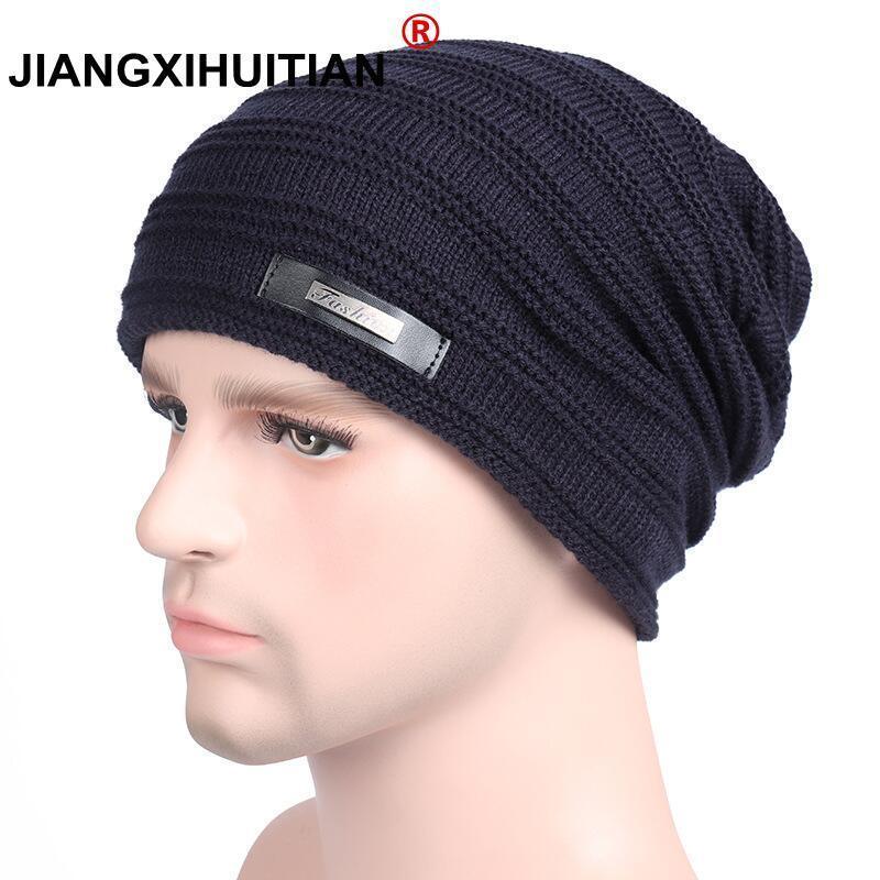 1227cd585fd 2018 Brand Beanies Knit Winter Hats For Men Women Beanie Men s Winter Hat  Caps Bonnet Outdoor Ski Sports Warm Baggy Cap