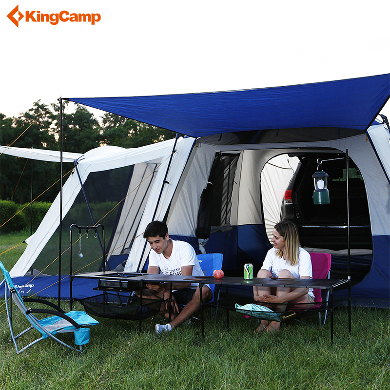 Kingcamp 5-9 Person Large Space Tents Waterproof Multipurpose Outdoor Camping Square SUV Tent 3-Season Fire-resistant Tent kingcamp camping tent waterproof brand windproof bari fire resistant 4 person 3 season outdoor tent for family camping