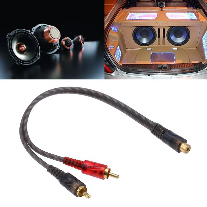 Image 5 - Car Audio 1 RCA Female to 2 RCA Male Y Splitter Cable Converter Cord Adapter Cable For Car Audio System MP3 For Phone