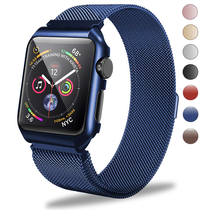 Milanese Loop Replacement Band Metal Protective Case for Apple Watch Band Series 4 40mm 44mm iWatch Strap Series 3/2/1 38mm 42mmMilanese Loop Replacement Band Metal Protective Case for Apple Watch Band Series 4 40mm 44mm iWatch Strap Series 3/2/1 38mm 42mm