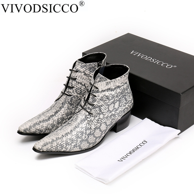 VIVODSICCO Lüks İngiliz Stil Dantel-Up Erkek yarım çizmeler Hakiki Deri Motosiklet Kovboy Çizmeleri Erkek Yılan Derisi Çizmeler Elbise Ayakkabı