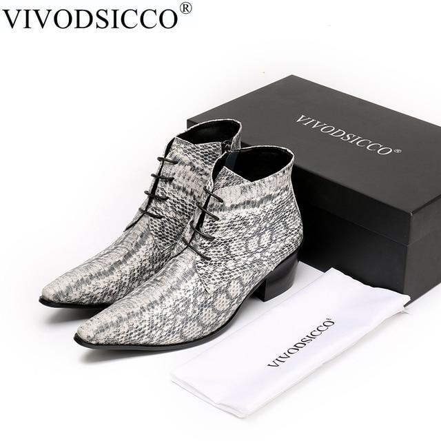 VIVODSICCO Luxe Britse Stijl Kant-Up Mannen Enkellaars Lederen Motorlaarzen Cowboy Laarzen Mannen Snake Huid Laarzen Jurk schoenen