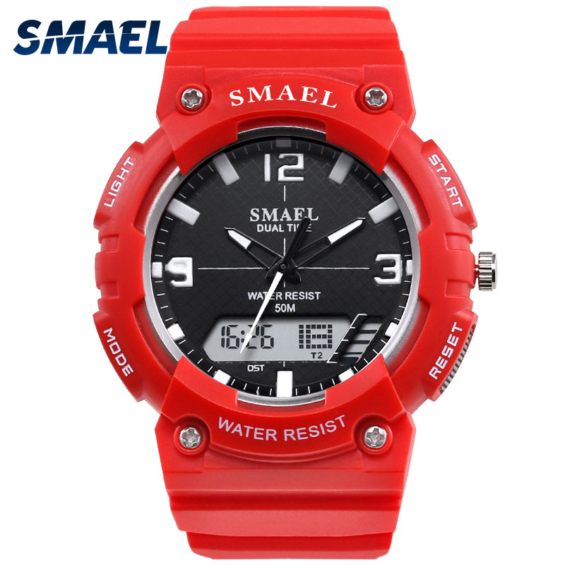 SMAEL Fashion Digital Watch 50M Waterproof Wristwatches Red Sport Watch Hot Electronics Time Clock Man Relogio Masculino 1539C