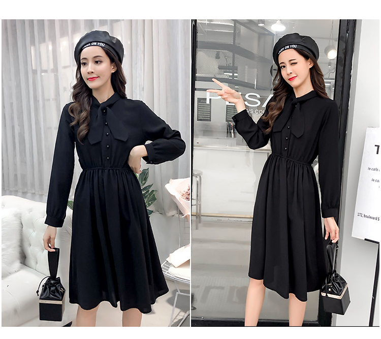 fashion bow collar women dresses party night club dress 2019 new spring long sleeve solid chiffon dress women clothing B101 17