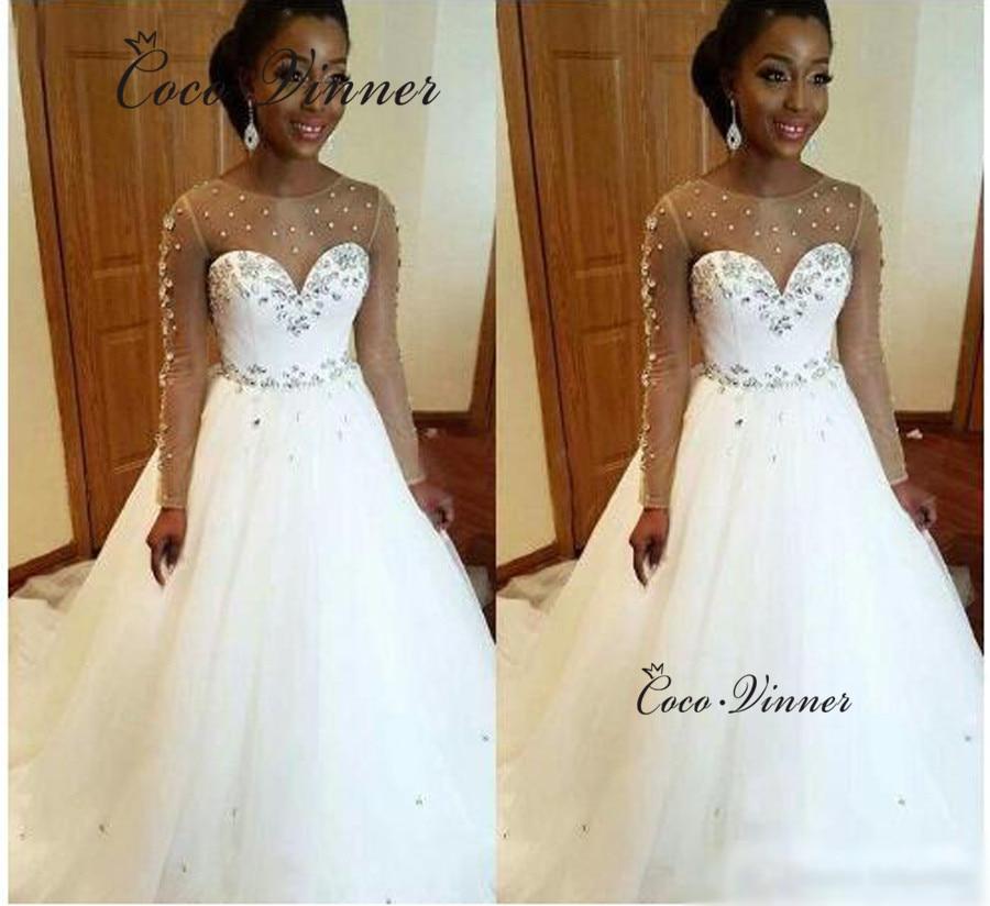 Wedding Dresses Wedding Gown Sheer Long Sleeves White: Long Sleeve Tulle A Line Wedding Dresses Bridal Gown Sheer