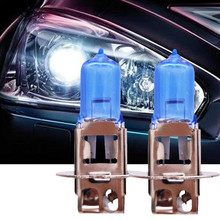 2pcs Bright H3 55W 12V 6000K Xenon Gas Halogen Headlight White Light Lamp Bulbs Gas Auto halogen lamp bulb Fog Lights Headlight