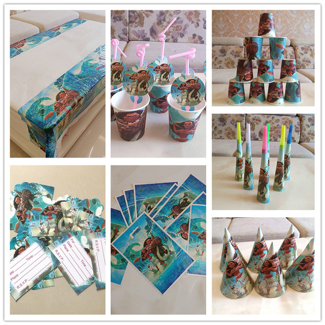 91pcs Ocean Moana Birthday Decoration Set Table Cloths Bag Cups Theme Party Tableware Event Supplies Baby Shower For 10 People