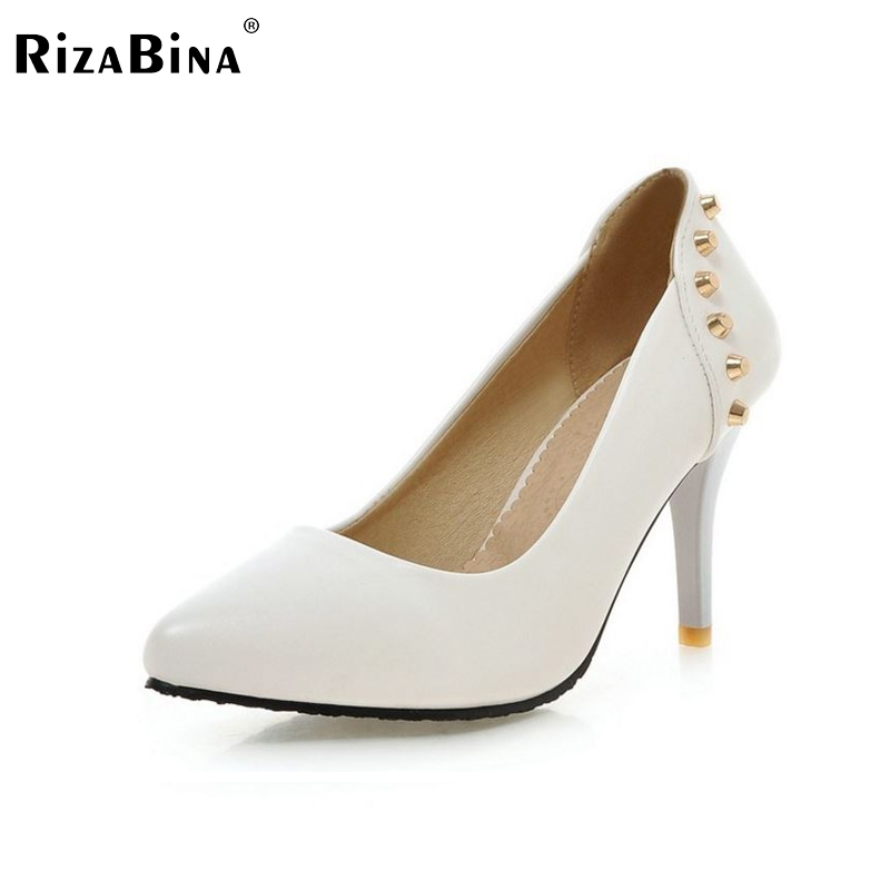 women stiletto high thin heels shoes sexy classics rivets spring brand  quality footwear fashion heeled pumps size 34-39 P22727 - 1 Inch Heel Evening Shoes Promotion-Shop For Promotional 1 Inch