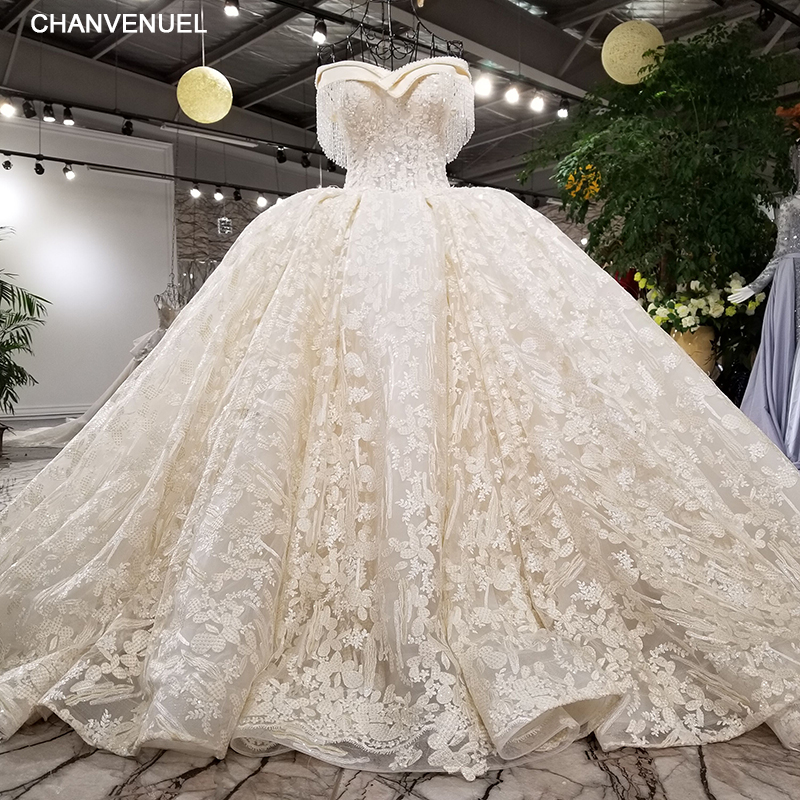 f56f5ba3bc3f0 US $617.09 49% OFF LS11457 Luxury wedding dress beading ball gown off the  shoulder lace up lace bridal wedding gowns cathedral train real photos-in  ...