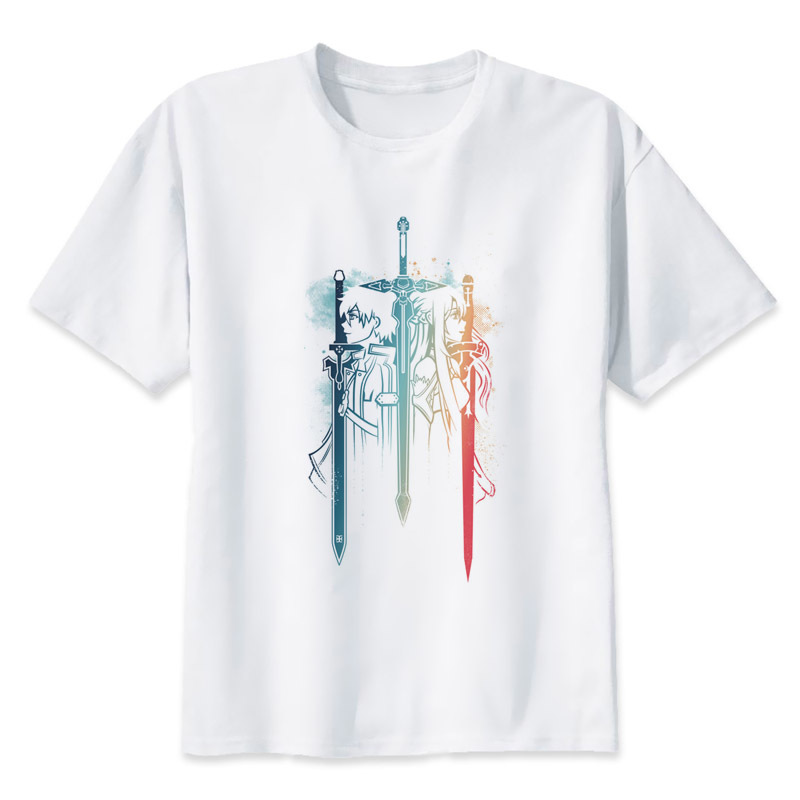 Sword Art Online Duo t shirt men cartoon 2017 cool funny white tshirt print T-shirt men Tees MR2255