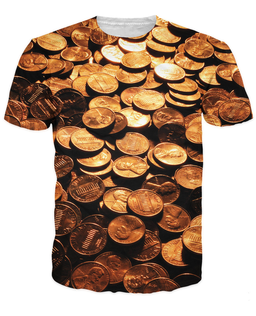 Women/men fashion clothing summer tee Pennies T-Shirt coin money 3d print t shirt plus s ...