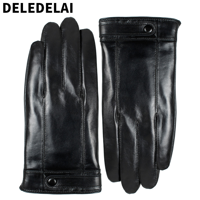 DELEDELAI Best Quality Winter Men Genuine Leather Solid Glove design Adult warmth sheepskin Black Classic Buttons belt mitten629