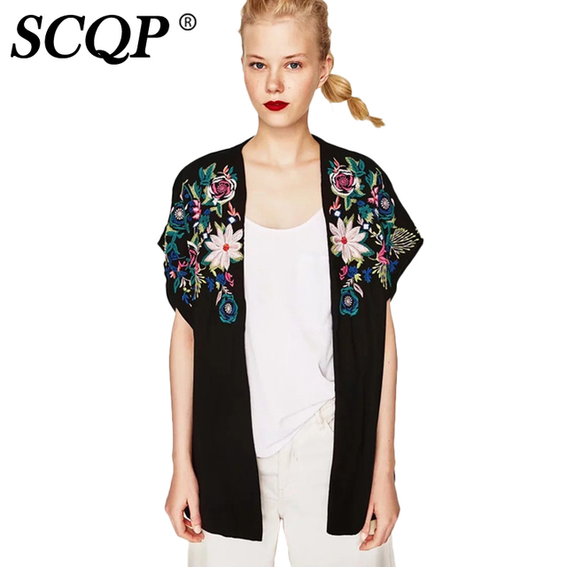Aliexpress.com : Buy SCQP Embroidery Floral Woman Kimono Cardigan ...