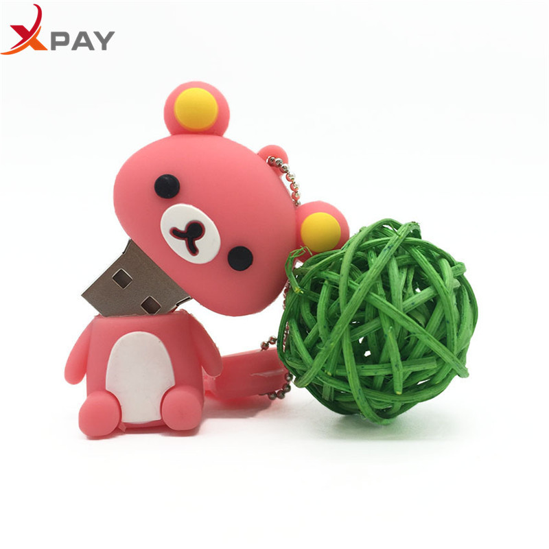 Image 4 - New style USB Flash Drive Lovely Cartoon Bear Pen Drive 64GB 128GB Pendrive Storage real capacity 4GB 8GB 16GB 32GB free shippin-in USB Flash Drives from Computer & Office